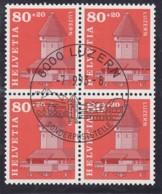 SCHWEIZ  1511, 4erBlock, Gestempelt,  Wiederaufbau Der Luzerner Kapellbrücke 1993 - Oblitérés