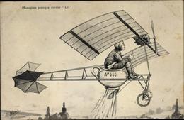 Artiste Cp Monoplan Pratique Dernier Cri, Flugzeug Mit Nachttopf, Karikatur - Vliegtuigen