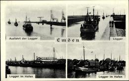 Cp Emden In Ostfriesland, Ausfahrt Und Hafeneinfahrt Der Logger, Fischerboote - Autres