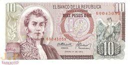COLOMBIA 10 PESOS ORO 1973 PICK 407d UNC - Colombia