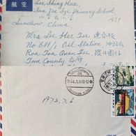 J) 1973 CHINA, AGRICULTURE BUILDING CANTON, SCHOOL, MULTIPLE STAMPS, AIRMAIL, CIRCULATED COVER, FROM CHINA - China