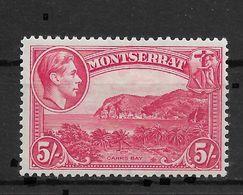 Montserrat 1938, KG-VI Carrs Bay, 5/, Perf. 13, Scott # 101a, VF MVLH*OG (FR-2) - Montserrat