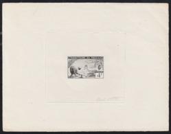 FEZZAN (1951) Man Wielding Hoe. Die Proof In Black Signed By The Engraver COTTET. Scott No 2N15, Yvert No 58. - Fezzan (1943-1951)