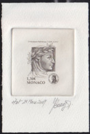 MONACO (2009) Petrarch. Stage Die Proof In Black Signed By The Engraver BEAUJARD. Scott No 2557, Yvert No 2693. - Monaco