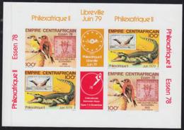 CENTRAL AFRICA (1978) Birds. Crocodile. Imperforate Block Of 4. Scott Nos C201-2. PhilexAfrique II - Central African Republic