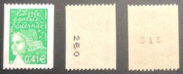Roulettes - N° 3458/3458a/3458b Marianne De Luquet- 0,41€ Vert - Rollen