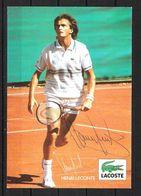 CARTE PHOTO  / DÉDICACE D' Henri LECONTE /   1 Victoire En Double (associé à Yannick NOA) à Roland Garros En 1984 - Authographs