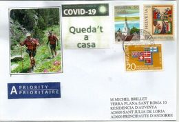 COVID19/ CORONAVIRUS, Letter From Switzerland Sent Andorra,during Lockdown,with Catalan Local Prevention Label STAY HOME - Switzerland