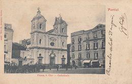 PORTICI-NAPOLI-PIAZZA  SAN CIRO-CATTEDRALE-CARTOLINA VIAGGIATA IL 9-8-1903 - Portici