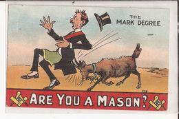 Cpa Franc Maconnerie Are You A Mason The Mark Degree Goat Chevre National Series Postcard Masonic - Filosofía & Pensadores