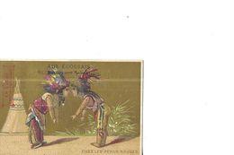 CHROMO   CHEZ LES PEAUX ROUGES       2  INDIENS   FOND OR    AUX ECOSSAIS CONFECTIONS  81 BLD SEBASTOPOL  PARIS 75 - Altri