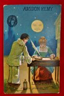 Calendrier 1887 - Chromo Amidon Rémy - Louvain / Lune - Pierrot - Kalender