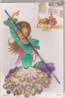 Carte Avec Ajouts ; Danseuse Espagnole ,arrière Plan Toréador (N° 7872-B ) Signé Asun - Autres