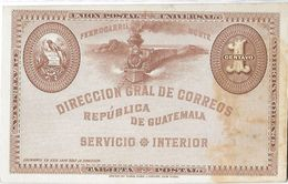 GUATEMALA - Entier Postal Service Intérieur 1c - Neuf - Train Vapeur Quetzal - Guatemala