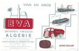 EVA VINS EN GROS ENTREPOTS VINICOLES EN ALGERIE A MARCQ EN BAROEUL NORD, BATEAU, CAMION, TONNEAU, VOIR LE SCANNER - Transports