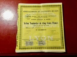 Cie  Internationale  De Déménagements  Et  Transports  De  Lyon ----- Action Nominative De 500 Frs - Transports