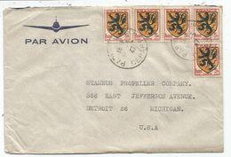 BLASON 5FR FLANDREX5 LETTRE AVION PARIS 22.3.1947 POUR USA AU TARIF - 1941-66 Armoiries Et Blasons