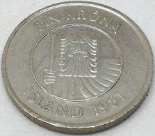 Moneda 1981. 1 Krona. Islandia. KM 27. MBC - Islande