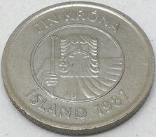 Moneda 1987. 1 Krona. Islandia. KM 27. MBC - Islande