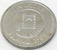 Moneda 1989. 1 Krona. Islandia. KM 27. MBC - Islande