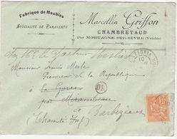 Vendée ESC à En Tête  15c Mouchon O. Mortagne Sur Sèvres, OR = Chambretaud - 1877-1920: Période Semi Moderne