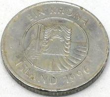 Moneda 1996. 1 Krona. Islandia. KM 27a. MBC - Islande