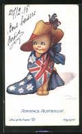 Künstler-AK Sign. Flora White: Advance Australia!, Kind Mit Hut Und Umgebundener Flagge! - Illustrators & Photographers