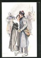 Künstler-AK Sign. C. Fouqueray: Je Vaincrai Pour La Paimpolaise..., Soldat Umarmt Seine Frau - Altre Illustrazioni