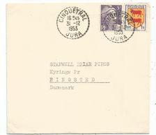 BLASON 1FR GANDON 5FR VIOLET LETTRE C. PERLE CINQUETRAL 31.12.1953 JURA POUR DANEMARK AU TARIF - 1941-66 Armoiries Et Blasons
