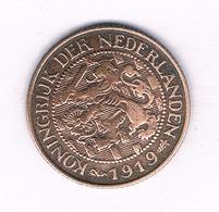 1 CENT 1919 NEDERLAND /5167/ - 1 Cent