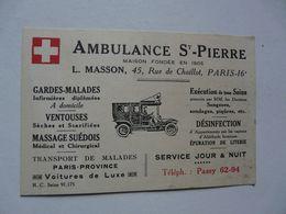 VIEUX PAPIERS - CARTE DE VISITE : Ambulance ST PIERRE - PARIS - Cartes De Visite