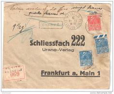 1931 Petite Rosselle / Metz A Francfort Lettre Chargee (avec Cachet Forbach  Au Verso) - Brieven En Documenten