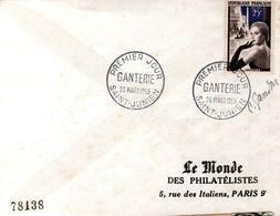 """LETTRE 1955 - CACHET POSTAL PREMIER JOUR NON ILLUSTRE """"LA GANTERIE"""" - SIGNEE DU GRAVEUR DU TIMBRE, PIERRE GANDON - - Brieven En Documenten"""