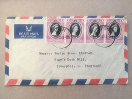 MALAYA Perak 1953 Air Mail Multi-stamped Cover Front And Rear - Ipoh To Liverpool - Perak
