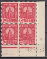 N° 232 En Bloc De 4 Coin Daté 18/12/42 - X X - ( C 1645 ) - Tunisie (1888-1955)