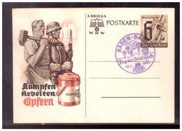 DT- Reich (009870) Ganzsache P291 Kämpfen, Arbeiten Opfern, Blanco Sonderstempel Baden Baden Tag Der Briefmarke - Germania