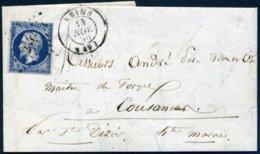14A Napoléon Bleu Très Foncé PC 2642 Reims 49 1856 Pour Cousances St Didier Hte Marne - 1849-1876: Periodo Classico