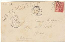 CP Mustapha Alger Paire 10c Mouchon1902 Décorée Gouache Hirondelles, Fleurs (2 Scans) - 1877-1920: Periodo Semi Moderno