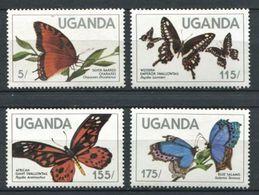 264 - OUGANDA 1984 - Yvert 354/57 - Papillon - Neuf ** (MNH) Sans Trace De Charniere - Ouganda (1962-...)