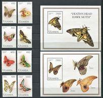 264 - OUGANDA 1994 - Yvert 1088/91 + 1122/25 BF 199 + 208 - Papillon - Neuf ** (MNH) Sans Trace De Charniere - Ouganda (1962-...)