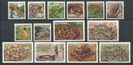 264 - OUGANDA 1995 - Yvert 1231/42 + 1271/72 - Reptile Serpent - Neuf ** (MNH) Sans Trace De Charniere - Ouganda (1962-...)
