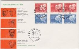 PRIX NOBEL PRIZE NOBELPREIS 1904 LITERATURE PHYSICS MEDICINE CHEMISTRY SWEDEN SUEDE SCHWEDEN 1964 MI 529 530 FDC - Nobel Prize Laureates