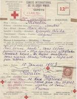 1943- Message Croix-Rouge  De Blida ( Algérie ) Pour  St Jean Des Vignes ( Saône Et Loire ) - Postmark Collection (Covers)