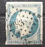 Empire No 14 A F Bleu Laiteux Obl Pc 2983 De ST SAINT ANDRÉ LES ALPES, Basses Alpes Haute Provence,indice 11, TB - 1853-1860 Napoléon III