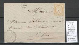 France  Lettre De AURIAC - GC 235 - Basses Pyrénées + Cachet OR - 1872 - 1849-1876: Periodo Clásico