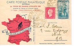 CARTE POSTALE PHILATELIQUE - TOUR DE FRANCE - 1948 - 1ère ETAPE - PARIS - TROUVILLE - - Cyclisme