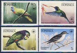 MDW-BK1-128 MDB MINT MNH ¤ DOMINICA 1984 4w In Serie ¤ - WWF - ENDANGERED SPECIES - BIRDS - PARROT - SINGBIRDS - Colibris