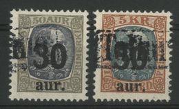 ISLANDE ICELAND COTE 30 € N° 113 + 114 Oblitération Fiscale - Gebraucht