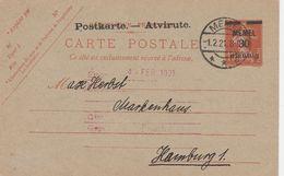 Memel Entier Postal Pour Hamburg 1921 - Memel (1920-1924)