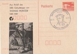 """DDR / 1989 / Postkarte Mit Privatem Zudruck """"Thomas Muentzer"""", SSt. Sangerhausen (BW37) - [6] República Democrática"""